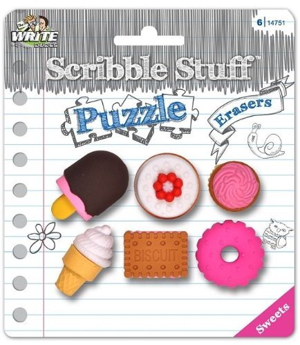 Scribble Stuff Puzzle Erasers ~ Sweets (Ice Cream, Doughnuts, Cake, Cupcakes; 6 Erasers) - 1