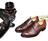 BAZAARCHARM グッドイヤーウエルト 製法 ビジネスシューズ 紳士靴外羽根 通気性 高級 本革靴 ウィングチップ 通勤 メンズ ワニの本革 bz0020 2color (25, ダク―ブラウン)
