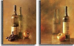 Sunset Wine by Fletcher Crossman 2-pc Premium Stretched Canvas Set (Ready-to-Hang)