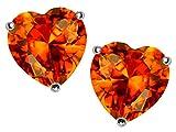 Star K 7mm Heart-Shape Simulated Mexican Orange Fire Opal Earrings Studs Sterling Silver