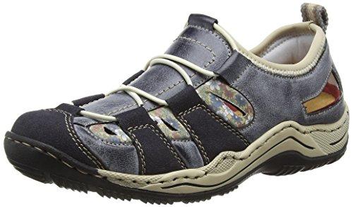 Rieker L0561 Women Low-Top, Damen Sneakers, Blau (navy/atlantic/kornblume/beige/14), 40 EU