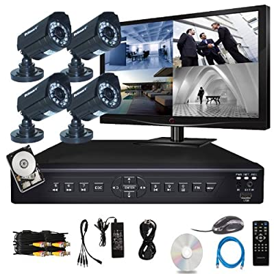 "iSmart 4 Channel H.264 CCTV Security Surveillance HDMI Motion Recording DVR & 4 CMOS Outdoor Weatherproof IR Night Vision Bullet 700TVL Cameras with pre-installed 500GB Hard Drive AND 19.5"" Monitor (D6104FH(500GB) + C1030DP7x4 + Monitor)"