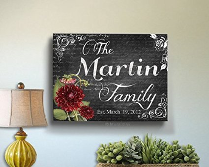 MuralMax - Custom Floral Family Name & Established Date, Stretched Canvas Wall Art, Wedding & Memorable Anniversary Gifts, Unique Wall Decor, Color - Gray - 30-DAY, Size 12 x16