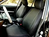 NISSAN QASHQAI 2007-2013 MIX LEATHERETTE & SYNTHETIC TWO FRONT CUSTOM CAR SEAT COVERS (2 FRONT BLACK)