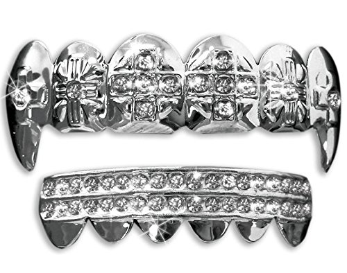 Hip Hop Platinum Silver Plated Removeable Mouth Grillz Set (Top & Bottom) Cross Fangs (Platinum Mouth Grillz compare prices)