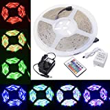 XCSOURCE® Waterproof 5 Meter RGB Color Changing Mode 3528 Flexible LED Strip Kit 60 LEDs/m with IR Remote 24 Key Controller AC Power Supply Adapter UK Plug for Home Lighting Decoration Lights LD112K (3528)