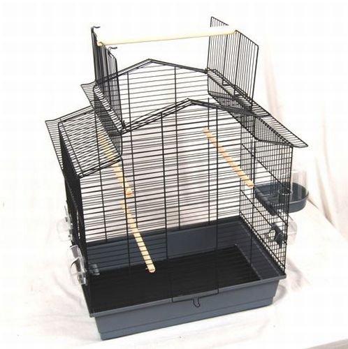 Vogelkäfig Susi, grau/schwarz, 60x40x65 cm