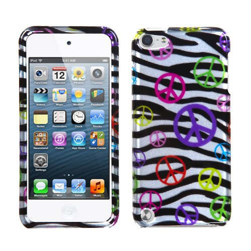 Snap on Cover Fits Apple iPod Touch 5 (5th Generation) 2D Silver Peace and Zebras (Please carefully check your device model to order the correct version.)