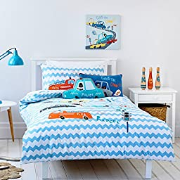 Auvoau Kids Bedding Set, Applique Embroidered Fire Truck Police Car Kids Boys Children fitted sheet sets (Full, 3PC)