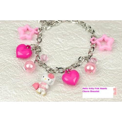 Hello Kitty Pink Hearts Charm Bracelet