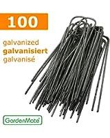 GardenMate® 100 piquets de fixation GALVANISÉ pour bâche toile paillage et anti-mauvaises herbes - 15cm en métal