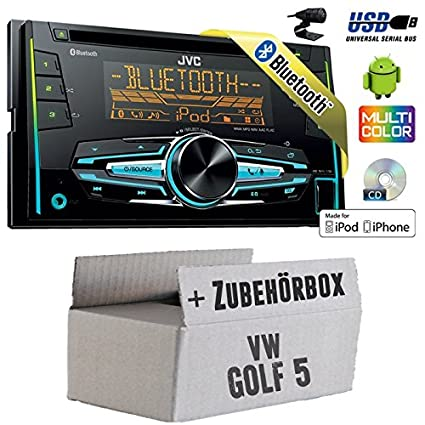 VW Golf 5 V - JVC KW-R920BT - 2DIN USB Bluetooth Autoradio - Einbauset
