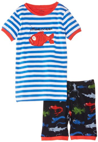 Hatley Little Boys' Short P.J. Set Deep Sea Creatures Offishally Exhausted, Blue, 5 front-944978