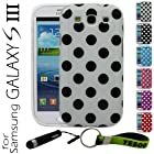 YESOO White Polka Dots Flex Gel Case For Samsung Galaxy S3 i9300, 3Pcs Screen Protectors With YESOO Aluminum Touch Pen And Silicone Key Chain (Compatible with Samsung Galaxy S III GT-i9300, AT&T Samsung Galaxy S3 Samsung i747, Verizon Samsung Galaxy S3 Samsung i535, T-mobile Samsung Galaxy S3 Samsung T999, U.S. Cellular Samsung Galaxy S3 R530, and Sprint Samsung Galaxy S3 Samsung L710, metroPCS Samsung Galaxy S3)