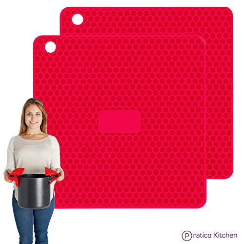 PratiPad PLUS 4-in-1 Multipurpose Silicone Pot Holders, Trivets, Jar Openers, & Spoon Rests - Extra Thick Protection - Set of 2 - Red (Rachel Ray Stove Top Grill compare prices)