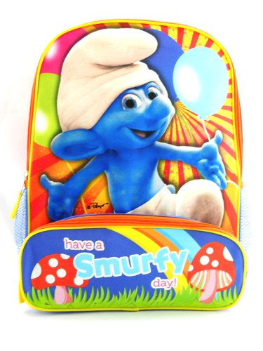 "16"" the Smurfs Have a Smurfy Day Backpack Tote Bag"