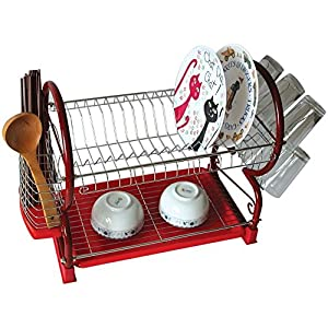 2 TIER CHROME PLATED DISH PLATE CUP BOWL DRAINER DRYER HOLDER STORAGE SINK RACK (RED)