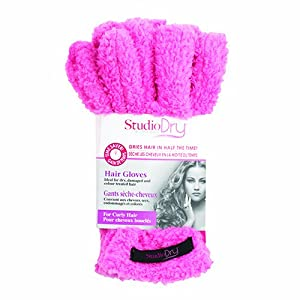 Upper Canada Soap Studio Dry Hair Gloves for Curly Hair, Pink, 2.2 Ounce
