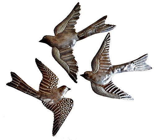 "Large Metal Birds, Handmade in Haiti, (set of 3) Garden Wall Art 11"" x 12"""