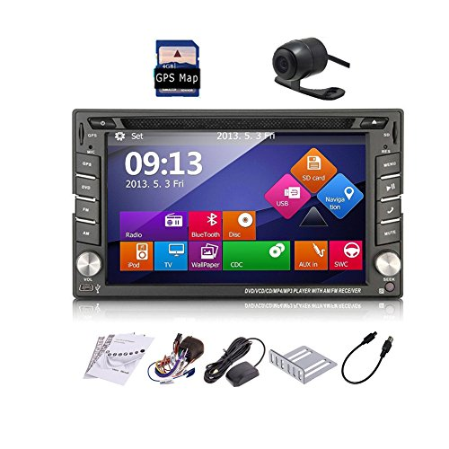Car Autoradio 2din GPS SAT Navigation TouchScreen Car DVD Player In-dash Car Audio Car Stero AM/FM Radio Bluetooth Map iPod Backup Camera (Radio With Backup Car Camera compare prices)