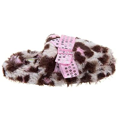 Capelli New York Leopard Faux Fur Thong With Sequins Bow Girls Indoor Slippers Pink Combo Small