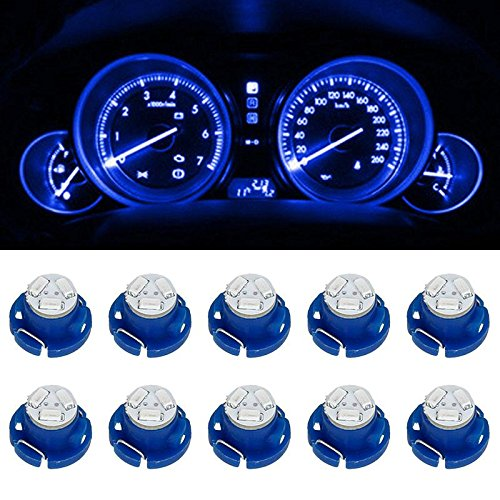 Partsam 10 x Blue T5 Neo Wedge Led 12mm 12V 3 SMD Light Bulbs For A/C Climate Control (Gauge Led Light For Dodge Ram 08 compare prices)