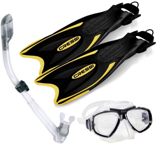 Cressi Palau Long Fins Focus Mask Dry Snorkel Set, YL-ML