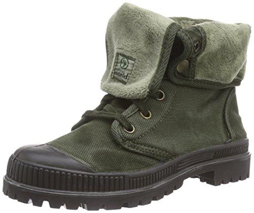 Natural World Bota Boton Enzimatico- Pantofole imbottite con lacci, Ragazza, colore Verde Militare, taglia 35