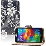 tinxi®Kunstleder Tasche Brieftasche für Samsung Galaxy S5 Schutzhülle Flipcase Schale Cover Etui Skin Standfunktion mit Karten Slot Blumen und Schmetterling in Schwarz