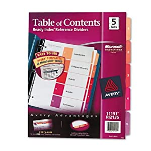Avery Ready Index Table of Contents Dividers, 5-Tab Set, 1 Set (11131)