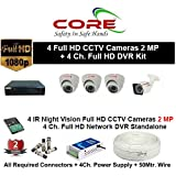 CORE 4-CH FULL HD DVR 2-MP ( 1080P). WITH 1-TB HARD DISK , 2-MP DOME CAMERA 3-PC, 2-MP BULLET 1-PC,4-CH POWER SUPPLY , 3+1 WIRE ROLL, WITH BNC /DC CONNECTORS COMBO PACK.