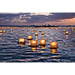 Water Floating Candle Lanterns Outdoor Biodegradable Lanterns for Praying Set of 10 (4.3 inch)
