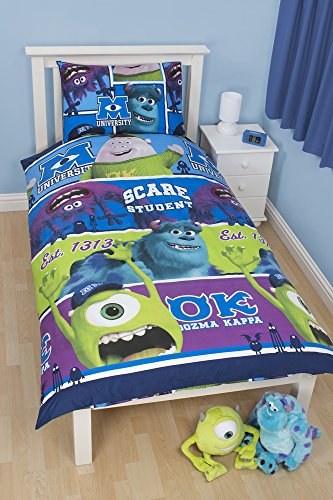 Monsters Inc University Single Duvet Cover With Pillowcase Rotary Design back-78255