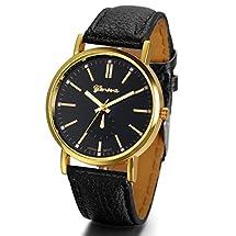 JewelryWe Luxury Leather Mens Quartz Analog Watch Black