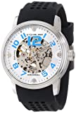 Stuhrling Original Men's 1070.33162 Classic Delphi Adonis Automatic Skeleton Silver Tone Black Rubber Strap Watch