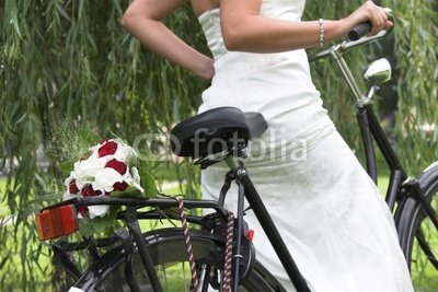 "Wallmonkeys Peel and Stick Wall Decals - Bouquet on the Bike - 24""W x 16""H Removable Graphic"