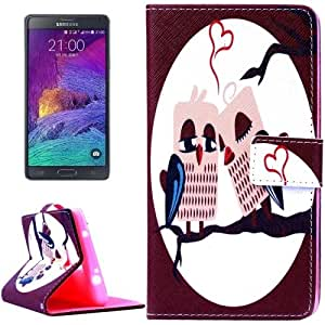 Crazy4Gadget Owl Lovers Pattern Horizontal Flip Magnetic Buckle Leather Case with Holder & Card Slots & Wallet for Samsung Galaxy Note 4