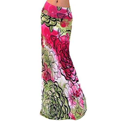 Novias Women Summer Multicolored Print High Waisted Beach Maxi Skirts Long Dress(Red Flower)