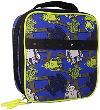 Crocs Little Boys' Printed Lunch Bag, Robot /Plaid, Large