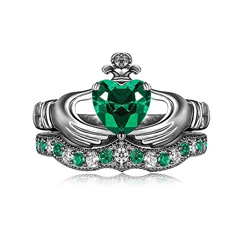 Evermarker Green Emerald Claddagh Women Engagement Ring Set (6(U.S)/16.5mm) (Gold Claddagh Rings For Women compare prices)