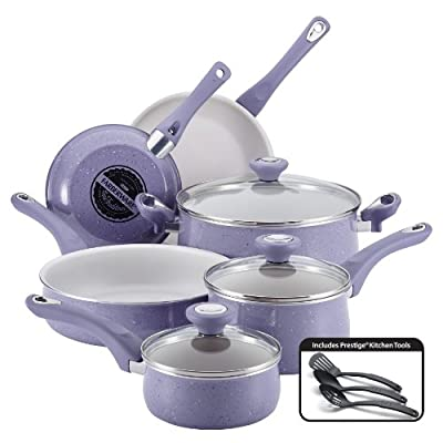Farberware New Traditions Speckled Aluminum Nonstick 12-Piece Cookware Set, Lavender with White Interior