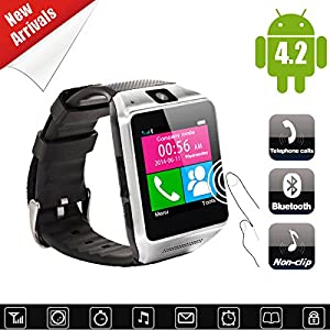 Kool(TM) Unlocked Bluetooth Smart Wrist Watch with 1.54 Inch Phone Caller ID Display Screen Android , Pedometer, Anti-lost Vibration For IOS Android iPhone Samsung HTC LG Sony Nokia Motorola (Black)