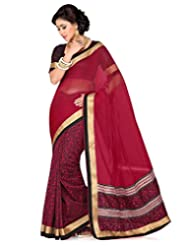 Black Raw Silk Printed And Maroon Royal Net Saree With Blouse