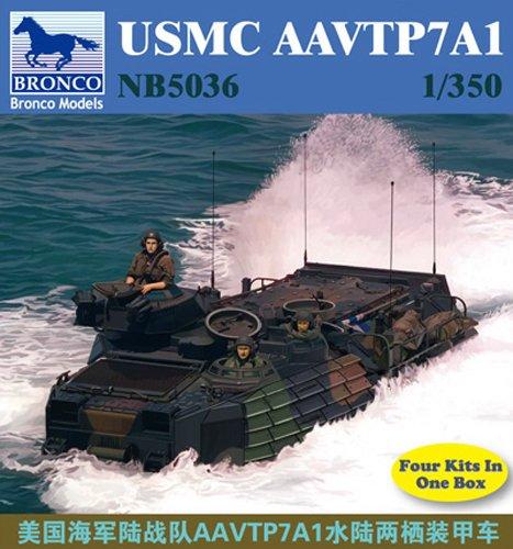 Bronco Models USMC AAVTP7A1 Assault Amphibious Vehicle (Contains 4 kits), Scale 1/350 - 1