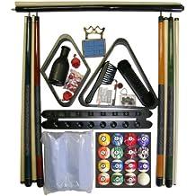 Black Finish Billiard Pool Table Accessory Kit W Marble Style Ball Set
