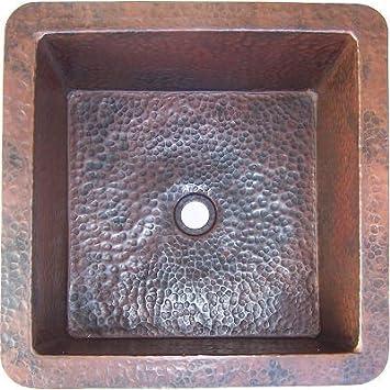 Squared Undermount Hammered Bathroom Copper Sink I