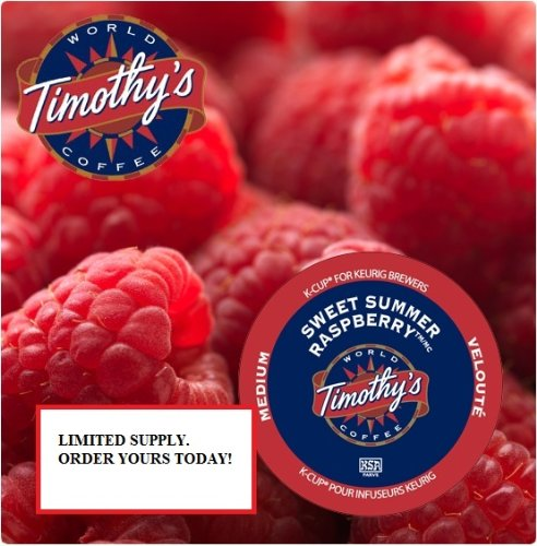 Timothy's World Coffee - SWEET SUMMER RASPBERRY - Flavored Coffee - 1 Box of 24 K-Cups - for Keurig Brewers
