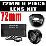 DM Optics 72mm +1 +2 +4 +10 Close-Up Macro Filter Set With Pouch + Wide Angle Lens / Telephoto Lens Kit For Any...