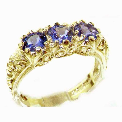 Luxury Solid 14K Yellow Gold Natural Tanzanite Art Nouveau Carved Trilogy Ring - Size 6 - Finger Sizes 5 to 12 Available - Perfect Gift for Birthday, Christmas, Valentines Day, Mothers Day, Mom, Mother, Grandmother, Daughter, Graduation, Bridesmaid.