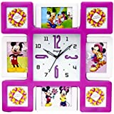 Skynet Plastic Collage 8 In 1 Photo Frame With Clock (47 Cm X 3 Cm X 47, Pink & White)